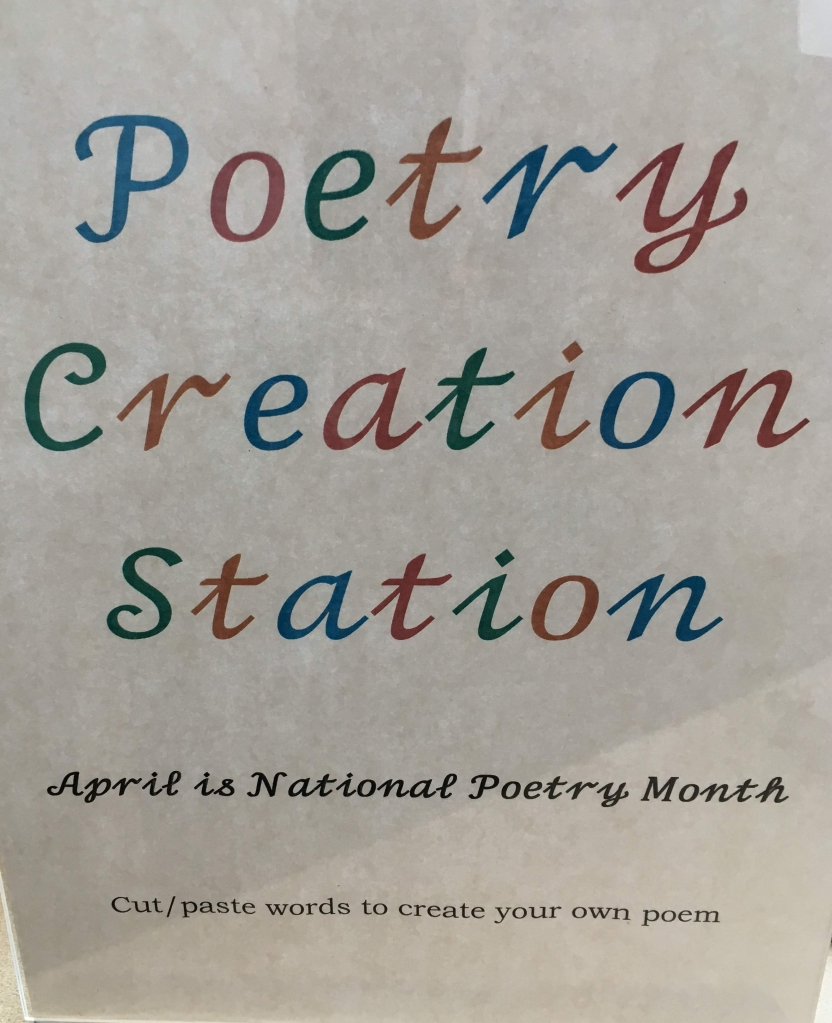 Poetry creation station sign