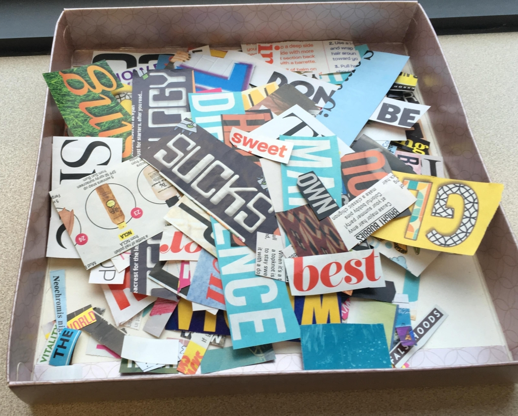 magazine words cut out - English