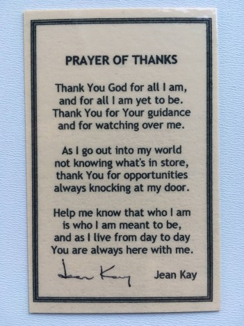 "A prayer card with a prayer by the title of ""Prayer of Thanks"" by Jean Kay"