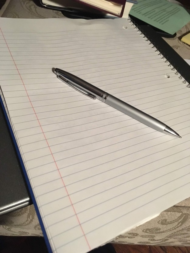 Blank writing pad and pen