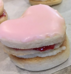 Layered heart-shaped shortbread cookie