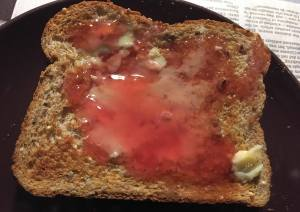 Toast with butter and chokecherry jelly