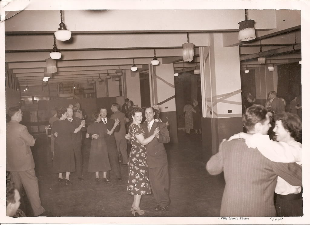 Black-and-white photo of dance hall in the 1950s