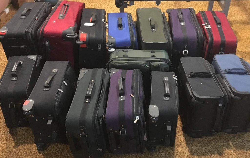 Many suitcases lined up