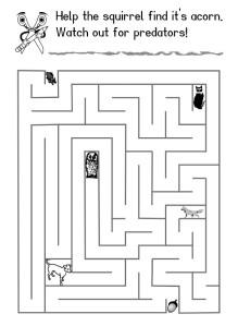 Child's activity sheet maze where a squirrel find an acorn